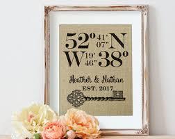 Bridal Shower Gift Wedding Latitude Longitude Sign Birthday Housewarming