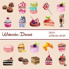 Watercolor Cupcake Clipart Chocolate CLIPART Valentine Digital