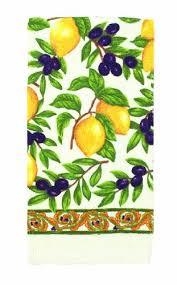 Ritz Kitchen Wears Print Velour Towel Olives And Lemons