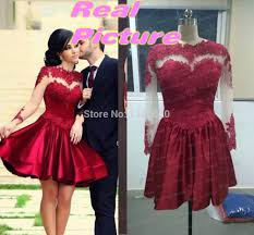 Hot Sale Satin Short Red Prom Dresses 2015 Real Pictures Vintage Long Sleeve Appliqued See Through Cheap Women Party Dress Gowns In From