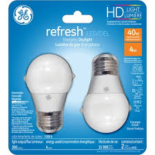 ge high definition 2 pack 40 w equivalent dimmable daylight a15