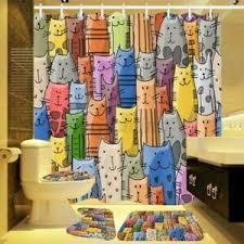details zu 4pcs set badezimmer duschvorhang bunt katze bad rutschfest wc matte teppich set