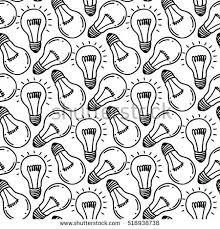 Lamp Light Bulb Hand Drawn Seamless Pattern Design Bulbs Icon Concept Of Big