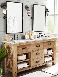Dream Master Vanity Rustic Bathroom With European Cabinets Pottery Barn Kensington Pivot Rectangular Mirror Inset Double Sink