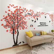 neue ankunft kristall acryl diy 3d wand aufkleber rot baum moderne wohnzimmer tv sofa dekorative hintergrund wandbild kunst liebe baum