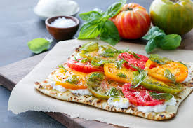 100 Heirloom Food Truck Tomato Flatbread With Fried Basil Love And Olive Oil
