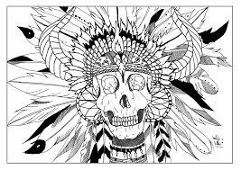 Coloring Skull Indian Par Valentin