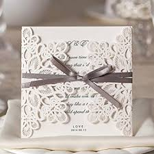 Wishmade 50x Square Laser Cut Wedding Invitations Cards Kits With Bowknot Hollow Cardstock For Marriage Engagement