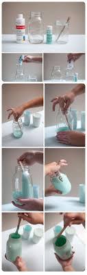 badezimmer deko diy vasen aus einmachgläser blaue farbe