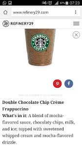 Double Chocolate Chip Creme Frappuccino Starbucks Chips Coffee Mocha