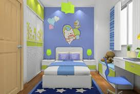cartoon pupils bedroom interior design in blue and green 3d house