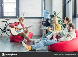 Group Friends Sitting Bean Bag Chairs Coffee Playing Guitar — Stock ... The Coffee Time Style Bean Bag Chair Garden Camping Beanbag Cover Lazy Sofa Anywhere Portable Sitting Cushionin Living Room Chairs From Fniture On 2017 New Hot Sale Modern Leather Set L Armchair With Coffee Bag Chair Round Table Outdoor Cover West Elm Canada Pallet Ottoman Biggie Bags Xl Size Cream Empty New Premium Soft Replica Tolix In Gunmetal Cushion Cafe Chevron Sack 5 Ft Multiple Colors Rustic Pig A French Feed Refinished Diy Fufsack Wide Wale Corduroy 7foot Xxl