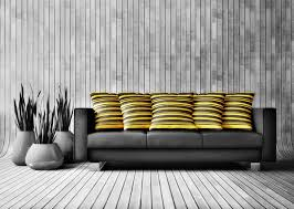 Heavenly Black White Grey Living Room Decoration Using Rustic Wood Wall Including Yellow Stripe Pillow On Sofa And Dark Fabric