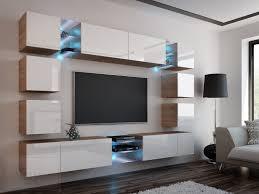 wohnwand edge weiß hochglanz sonoma eiche mediawand medienwand design modern led beleuchtung mdf hochglanz hängewand hängeschrank tv wand