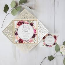 Ivory Laser Cut Burgundy Floral Glittery Wedding Invitations EWWS169 4
