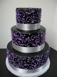 Image Of Black White Purple Wedding Cakes