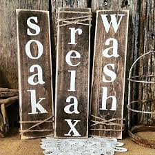 Beautiful Rustic Primitive Bathroom Decor Set Of Three Wooden Signs Wall