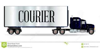 100 Truck Courier Tractor Unit And Trailer With Inscription Stock Vector