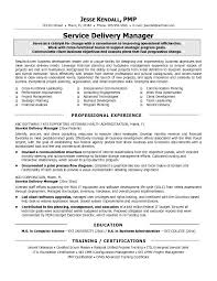Service Delivery Manager Resume Template It Sample Best Printable