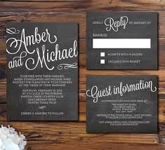 Simple White And Black Chalkboard Wedding Invitations