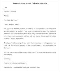 27 Rejection Letters Template HR Templates