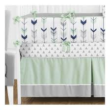 sweet jojo designs mod arrow in grey navy and mint 9 piece crib