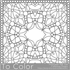Printable Coloring Pages For Adults Square Pattern PDF JPG Instant Download