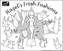 Hazels Fresh Fashions A Paper Doll Coloring Page