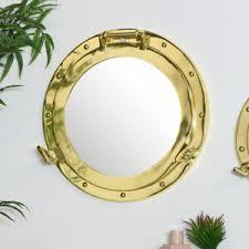 details zu große messing metall bullauge stil wand spiegel nautisch wohnzimmer bad dekor