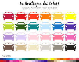 50 Rainbow Car Clip Art Silhouette Digital Illustrations PNG