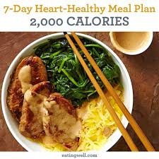7 Day Heart Healthy Meal Plan 2000 Calories