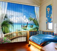großhandel sheer vorhang 3d blackout vorhänge meer landschaft vorhänge für wohnzimmer schlafzimmer küche dekoration maßgeschneiderte vorhänge