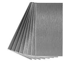 Metal Adhesive Backsplash Tiles by Shop Aspect Metal 3 In X 6 In Stainless Metal Backsplash At Lowes Com