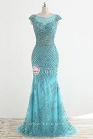 luxury sparkling sequins and rhinestones tiffany blue mermaid long