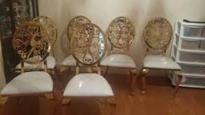 Gorgeous Marble Dining Table With Stunning Chairs 100x200 Gold And White 3 Gave Slight Mark On Leather I Will Send Pictures But It