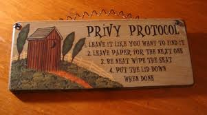 rustic country western primitive outhouse bathroom rules farm