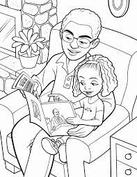A Father Sits In Chair With His Daughter And Reads An Ensign Lds Coloring Pages