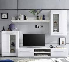 stella trading wohnwand weiß hochglanz wohnzimmerschrank enrique 1