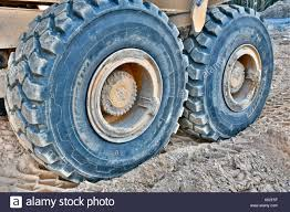 Big Michelin Mud Tires On A Volvo Dump Truck Stock Photo: 154949131 ...