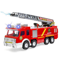 Toy Fire Truck Toy Lights Sound Ladder Hose Electric Fire Brigade ...