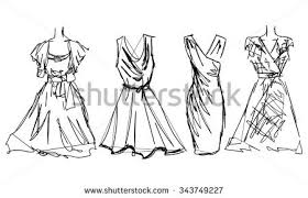 Fashion Sketch Set Look Women Female Dress Hand Drawn