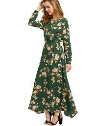 floerns women u0027s long sleeve floral print button casual maxi dress
