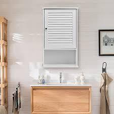 costway holz badezimmer schrank weiss wand montiert ablage home möbel w tür