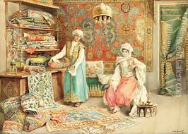 Painting Carpets by The Carpet Seller Oil Painting Reproduction By Amedeo Momo