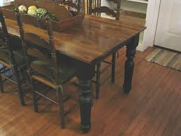 DIY Farmhouse Dining Table With Oak Wooden Top And Legs Painted Black Color Plus Antique Ladder Chairs High Back On Hardwood Floor Tiles