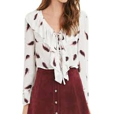 new womens sweet white ruffled collar feather printed lace up