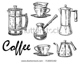 Vector Hand Drawn Illustration Of Coffee Mugs Pots And Makers Vintage