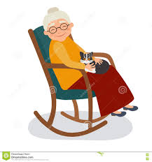 Old Woman With Cat In Her Rocking Chair Stock Vector ...