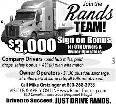 Company Drivers / Owner Operators, Rands Trucking, Inc, Medford, WI Missing Oregon Truck Driver Found Looking For A Trucking Career With Us Otr Drivers Owner Operators Rands Inc Medford Wi Jj Brandon Llc Rays Photos Berry Best Image Kusaboshicom Oldland Distributing Needle Nose Valley Equipment Rb Browns May Company Former Terminal Ma Update Invesgation Shows Car Pulled Out In Front Of Coal Truck Kinard York Pa