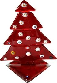 Red Christmas Tree Small Murano Glass With QuotMurrinaquot